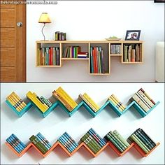 57 new ideas for diy headboard bookshelf apartments Creative Bookshelves, Bookshelves Kids, Bookshelf Design, Wall Shelves Design, Diy Bookcases, Kids Book Shelves, Small Shelves, Bookshelf Headboard, Bookshelves In Bedroom
