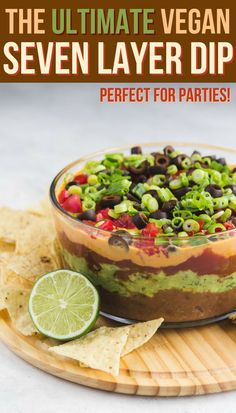 The Ultimate Vegan Seven Layer Dip is part of The Ultimate Vegan Seven Layer Dip From My Bowl - This Vegan Seven Layer Dip is made of layers of Refried Beans, Guacamole, Queso, and more making it a perfect appetizer or party treat! Vegan Apps, Vegan Foods, Vegan Snacks, Vegan Dishes, Vegan Vegetarian, Vegan Recipes, Vegan Meals, Vegan Potluck, Vegan Party Food