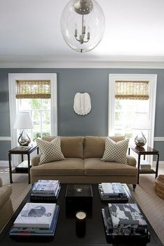 living room/color scheme. I love the gray and brown. Both neutrals.