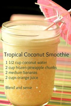 Tropical coconut smoothie recipe - healthy smoothie recipes with coconut water, . Tropical coconut smoothie recipe - healthy smoothie recipes with coconut water, pineapple, bananas and orange juice Green Smoothie Recipes, Easy Smoothies, Smoothie Drinks, Breakfast Smoothies, Detox Drinks, Detox Juices, Healthy Juices, Smoothie With Orange Juice, Smoothie Recipes For Kids