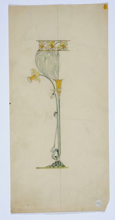 Gustav Gaudernack. Sketch (2) for decorative vase in silver and plique-a-jour enamel. Vase produced by David Andersen now in Metropolitan Museum of Art, New York