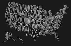 Typographic Map of the United States by Little Owl Designs