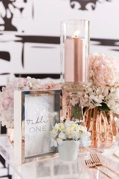 30 Glamorous Rose Gold Wedding Decor Ideas ❤ See more: http://www.weddingforward.com/rose-gold-wedding-decor/ #wedding