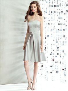 a0ce67a3c86 Dessy Social Bridesmaid style 8135 is a Cocktail length strapless matte  satin dress w  v-detail at neckline and inset midriff. Inverted pleat  detail at ...