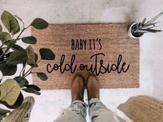 Cozy home Christmas - Baby its cold outside christmas doormat holiday doormat cute christmas gift holiday home decor christmas decor winter doormat. Winter Home Decor, Autumn Home, Diy Home Decor, Decor Crafts, Fall Decor, Room Decor, Christmas Doormat, Fall Doormat, Cute Birthday Gift