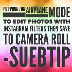 """""""Put your phone on airplane mode to use and then save to your camera roll! Facebook Marketing, Social Media Marketing, Digital Marketing, Airplane Mode, Camera Roll, Social Media Tips, Embedded Image Permalink, Online Business, Photo Editing"""