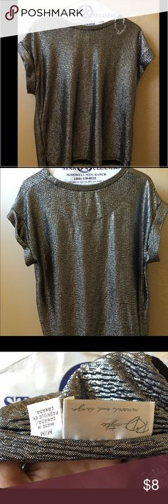 Silver Tee shirt Loose fit silver shiny tee shirt. Very good condition. Comfortable and cute. Tops Tees - Short Sleeve