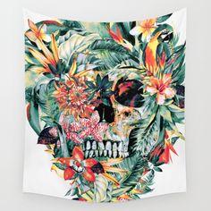 MOMENTO MORI V Wall Tapestry #skull #tropical #floral #birds #summer #gift #society6 #watercolor #home #decor