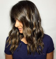 Ombré waves brunette wavy hairstyles highlights