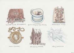 "Harry Potter Inspired Illustrations  A series of ""artifacts"" from the wizarding world (and extremely fun commission!).  ""Harry Potter Artifacts; Books 1-7,"" ink and watercolor, 2013."