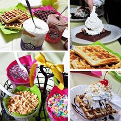 Breakfast Ice Cream Party with Brownie Waffles #IceCreamTreat - Home Cooking Memories  - should do this to celebrate birthdays when the kids are older!