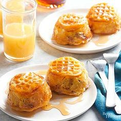 Upside-Down Waffle and Egg Cups:   What's better than your favorite breakfast foods combined in a mini cup? Not much. Eat up./