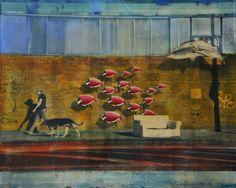 """tibo streicher - """"follow me"""" #tibostreicher #samagra #street #followme #huile #artcontemporain #art #contemporaryart #pavement #shark"""
