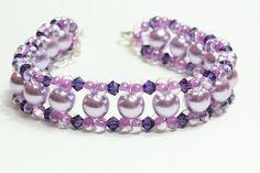 Lila glass Swarovski crystals beaded bracelet by AGoodBead on Etsy, $13.00