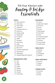 Printable Kitchen Pantry Essentials Shopping List - Moving in to a new home? Time to stock the pantry and refrigerator with all the essentials. First Apartment Checklist, First Apartment Essentials, New Home Checklist, My First Apartment, First Apartment Decorating, Design Apartment, Cleaning Checklist, Moving In Checklist, Moving Tips