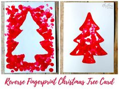 Making a reverse fingerprint Christmas tree card will give you two cards. A positive and a negative fingerprint Christmas tree card. Make some today!