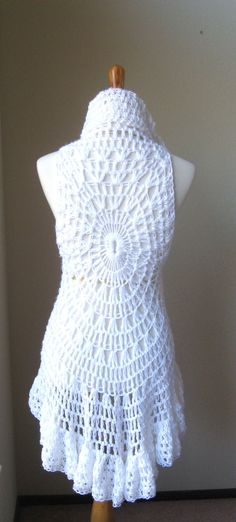 WHITE ROMANTIC VEST Crochet Vest Sweater Poncho by marianavail