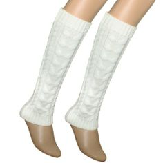 Amazon.com: Cable Knit Trimmed Classic Boot Shaft Style Soft Acrylic Leg Warmer - White: Clothing