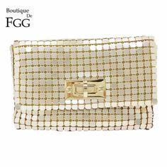 06c05a664396 Boutique De FGG Gold Aluminum Women Fashion Chain Shoulder Crossbody Handbag  and Purse Evening Envelope Clutch Party Dinner Bag Review