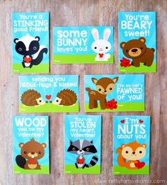 Free Printable Woodland Valentines at artsyfartsymama.com by Lindsay..There are 8 cards in all with different woodland creatures and punny Valentine messages that will be fun to share with friends or at classroom Valentine parties!