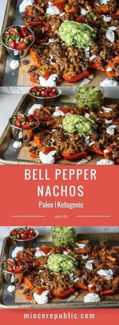 Bell Pepper Nachos recipe with Pico de Gallo and Guacamole Paleo Keogenic low carb mincerepublic. Paleo Recipes, Mexican Food Recipes, Low Carb Recipes, Cooking Recipes, Paleo Food, Venison Recipes, Chicken Recipes, Recipes With Guacamole, Celiac Food