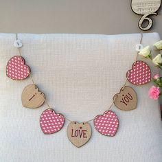 Personalised Valentine Wooden Heart Bunting  by Neltempo