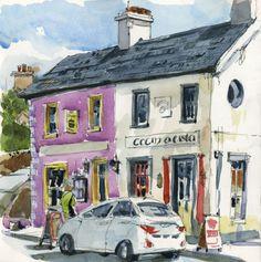 Café in Waterville, Ireland, sketched in a handbook journal, 8″ x 8″, by Shari Blaukopf