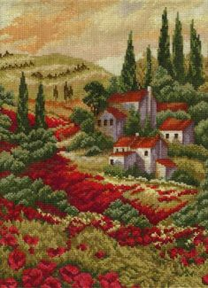 This Pin was discovered by Jan Cross Stitch Fruit, Beaded Cross Stitch, Cross Stitch Charts, Cross Stitch Embroidery, Hand Embroidery, Cross Stitch Patterns, Cross Stitch Landscape, Scenery Pictures, Donia