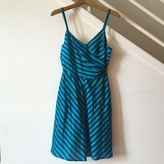 Navy and turquoise striped Corey Lynn Calter dress Navy and turquoise flirty dress. Love this piece, gently worn (like once). Yellow lining made out of 100% cotton. Flattering fit! Corey Lynn Calter Dresses Midi