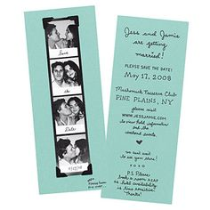 An old-school photo booth picture strip and a handwritten font create a sweet and playful save-the-date, Courtesy of Bird and Banner #savethedate #weddinginvitations