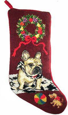 "Tan French Bulldog Dog Christmas Needlepoint Stocking - 11"" x 18"""