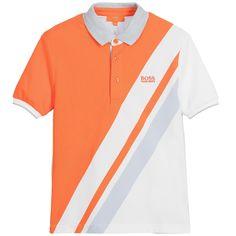 32edbe61 BOSS Boys Stripy Orange & Blue Polo Shirt Orange Polo Shirt, Blue Polo  Shirts,