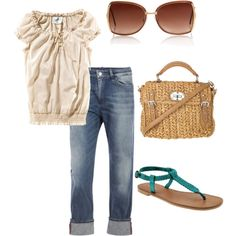 What I'm usually wearing.  Exception would be the cute bag.