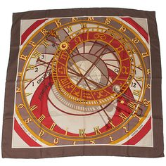 Pre-owned Hermes Mecanique Du Temps Brown & Multi-Color Silk Scarf ($115) ❤ liked on Polyvore