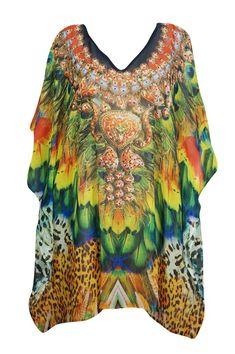 23e60f1a1d Mogul Womens Jewel Print Short Caftan Sheer Georgette Kimono Sleeves Sexy Beach  Wear Resort Fashion Bikini Cover Up Dress