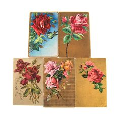 Lot of 9 Early 1900's Roses w/Gold and/or Silver Details Postcards #52286