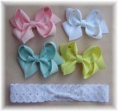 Infant headband set, Baby hair bow headband, Baby bow band