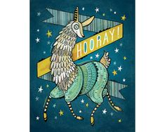 Illustration Art Print Hooray for Llama 8 x 10 by annibetts, $20.00