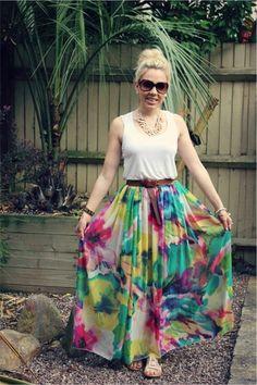Gorg floral maxi skirt. Super cute summer colors