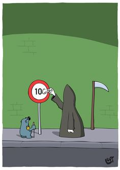 Thomas Luft, Cartoon, Lustig, Tod, 100