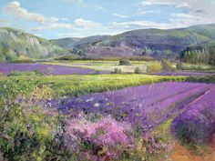 Paintings of Provence France   ... Old Provence Painting - Lavender Fields In Old Provence Fine Art Print
