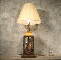 Glass Lamp w/ Quail