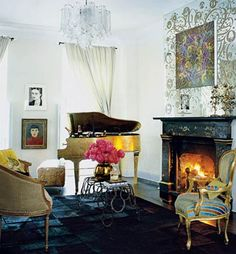 A plastic-lined, inoperable baby grand piano serves as an ice bucket - Cynthia Rowely's NY apartment