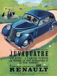 via Thierry Leprévost Vintage Advertisements, Vintage Ads, Vintage Posters, Classic Motors, Classic Cars, Car Illustration, Car Posters, Automotive Art, Advertising Poster