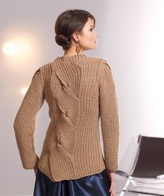 Love the front and back twists in this sweater.