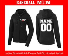 Baseball Mom with Customized Name and Number on the back full zip up moisture wicking hoodie