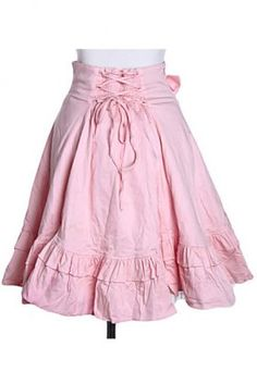 Fashion Knee-length Pink Cotton Sweet Lolita Skirt With Bow, ocrun.com
