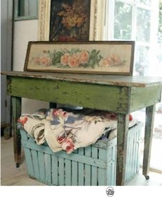 shabby table and basket of chintz