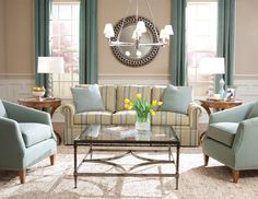 Turquoise accent chairs - #striped #sofa - Huntington House Furniture 2042-20