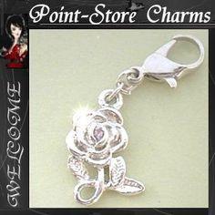 Rose mit Stein Charms Anhänger Bettelarmband C 180